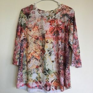 Multicolor 3/4 Sleeve Floral Shirt